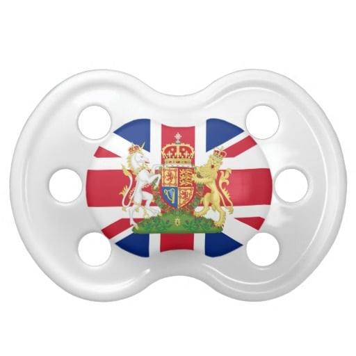 So we doubt that the royal baby would actually suck on this Coat of Arms Union Jack Baby Pacifier ($14) — called a dummy in the UK — but it still is cute!
