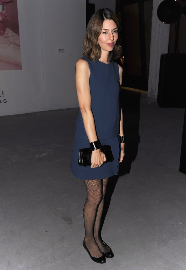Sofia Coppola wore a navy dress for the Spring showing.
