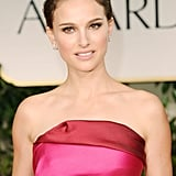 Natalie Portman pulled her hair up for the 2012 Golden Globe Awards.