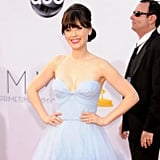Zooey Deschanel in a Light Blue Gown at the Emmys 2012