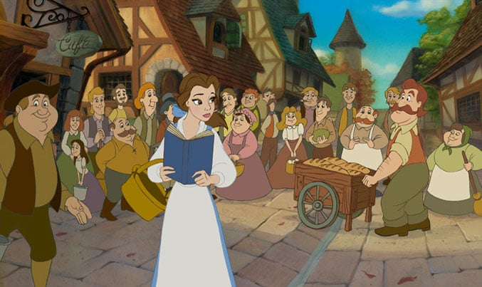 Belle is the only person in her town who wears blue.