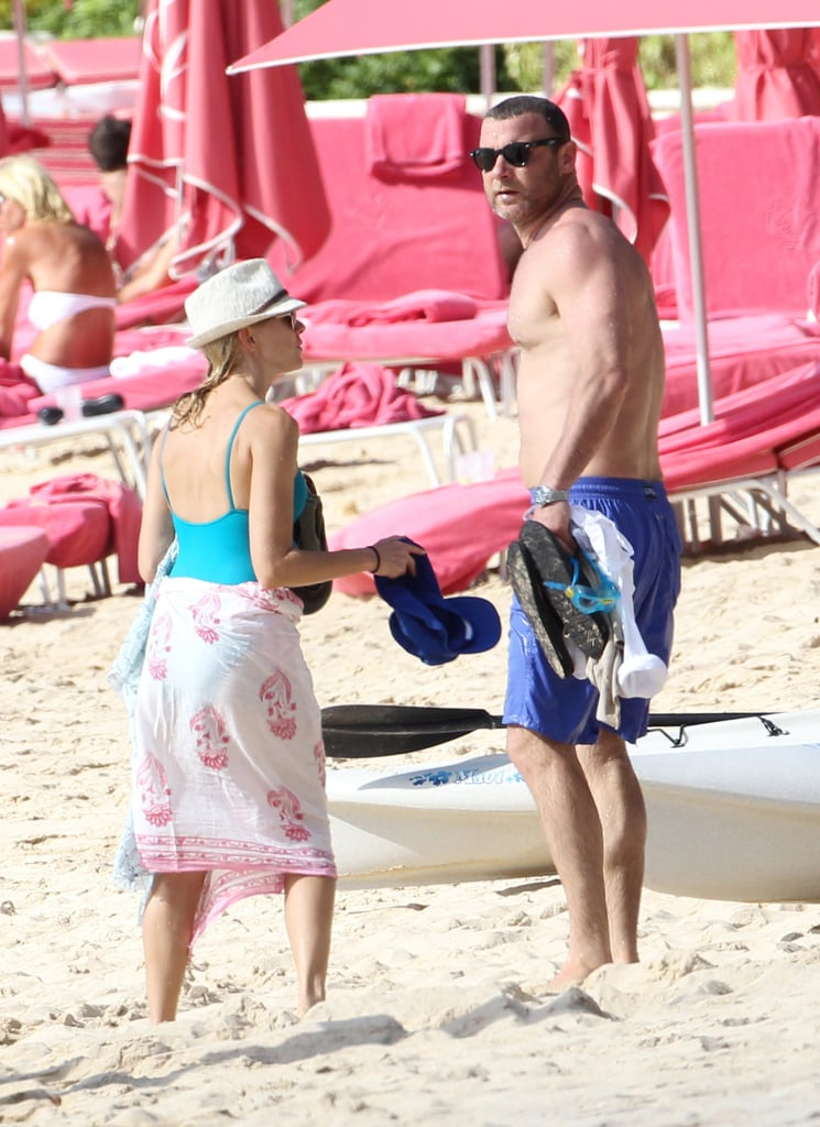 Naomi Watts and Liev Schreiber on the beach in Barbados.