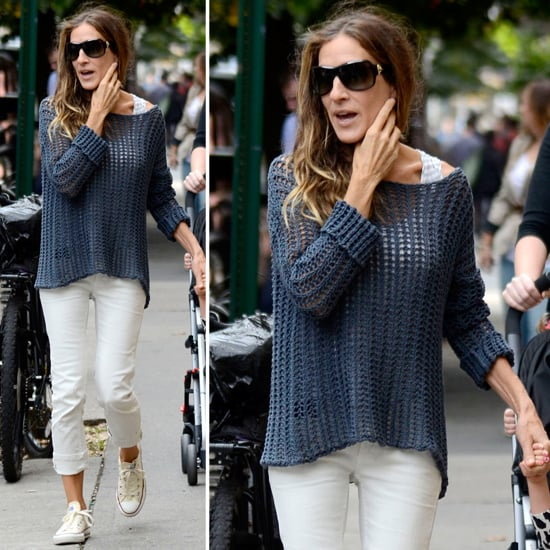 Sarah Jessica Parker Wearing White Jeans  18d726c8f
