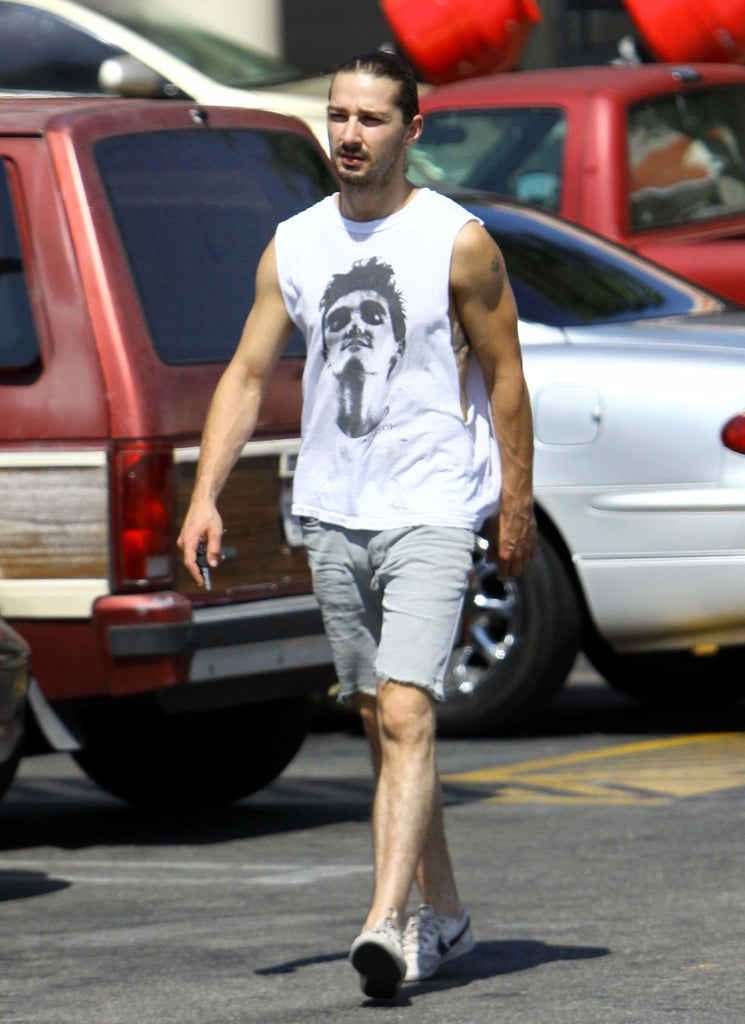 Shia LaBeouf showed off his biceps in a cutoff t-shirt yesterday during an afternoon stop at an LA Home Depot. He stocked up on lumber, cement, and building supplies for what appears to be a big project. Shia's still rocking a Summer ponytail, but in his new Depression-era drama, Lawless, he's modeling a clean shave and slicked-back 'do. Shia and his costars Tom Hardy, Guy Pearce, and Jessica Chastain premiered Lawless at Cannes in May, and later this month, they'll likely hit the promotional trail prior to the film's Aug. 29 nationwide release.