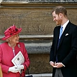Prince Harry and his grandmother shared a laugh at Lady Gabriella's wedding in 2019.