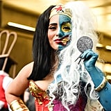 How incredible is this two-faced Wonder Woman costume? To complement her creepier half, the wearer is rocking long fake nails, contact lenses, and a wild white wig on her left side.