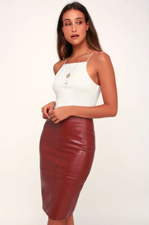 Lulus Wine Red Leather Pencil Skirt