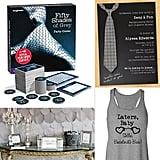 Give Your Bachelorette Party Fifty Shades of Flair Bachelorette parties are known to get a little wild, and celebrating the last single hurrah for a bride-to-be naturally lends itself to a sexy theme. So it's no surprise that E.L. James's erotic trilogy Fifty Shades of Grey makes the perfect bach-party inspiration. Handcuffs, masks, whips, and steamy games are just a few of the elements that, used creatively, will have partygoers giggling while celebrating the soon-to-be Mrs. (Christian Grey). Nipple-clamp cookies, anyone? Click on for more Fifty Shades of Grey bachelorette-party ideas!