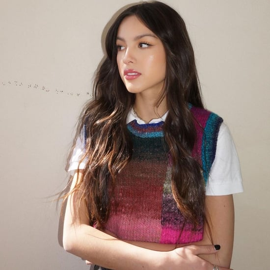 Olivia Rodrigo's Colorful Sweater Vest With Leather Pants