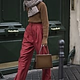 Style It With a Fuzzy Sweater and Red Trousers