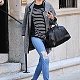 Miranda Kerr easily mixed two prints in one outfit: stripes with leopard.