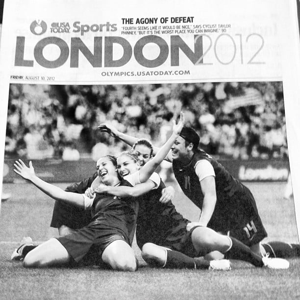 Jaime King shared a memorable moment from the gold medal women's soccer match. Source: Instagram user jaime_king