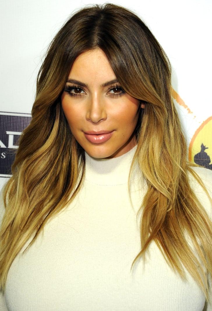 Kim Kardashian Celebrity Beach Wave Hair Looks