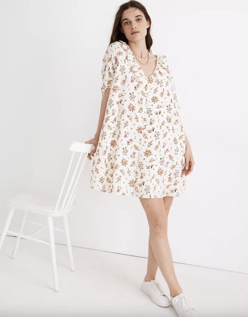 Ruffle Button-Front Trapeze Dress