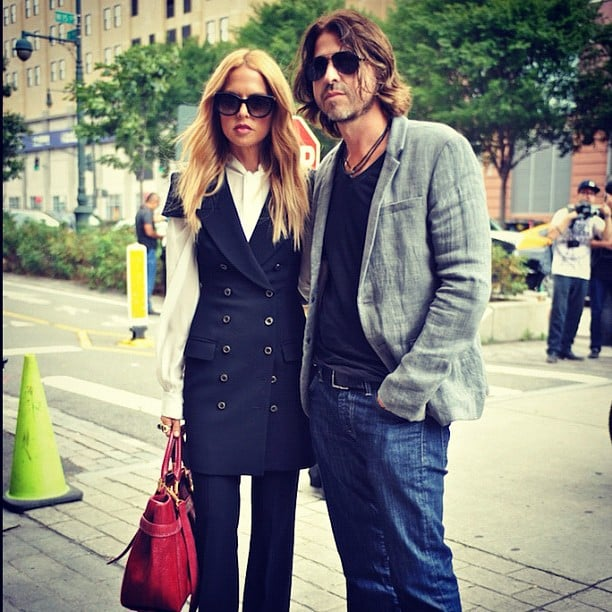 Rachel Zoe stopped to pose with with beau Rodger Berman on the streets of NYC. Source: Instagram user netaporter