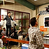 Jeff (Joel McHale) balances precariously for a scene.