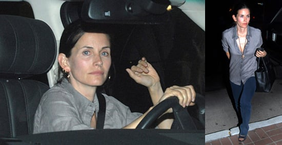 Courteney Cox Without Makeup at Madeo Restaurant in LA