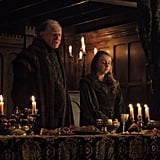 """Walder"" sitting next to a terrified young wife before the Red Wedding Revenge"