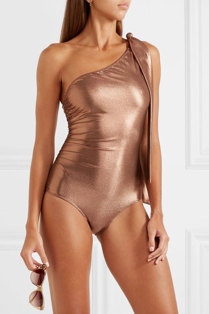 Lisa Marie Fernandez Arden Metallic One Shoulder Ruched Swimsuit
