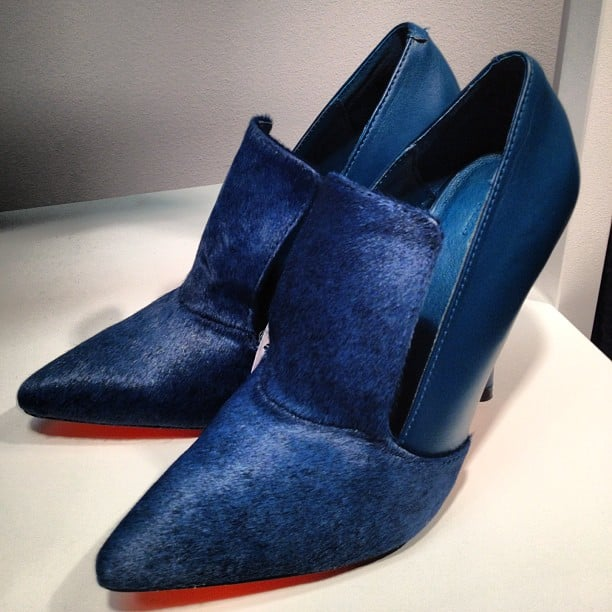 We loved the deep blue hue and calf-hair finish to these pumps at the new Joe Fresh store on Madison in New York.