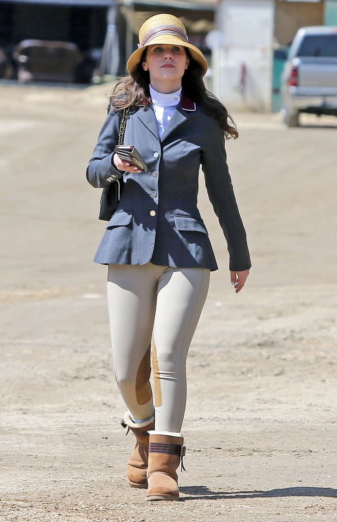 Zooey Deschanel prepared for a horseriding lesson in LA on Thursday.