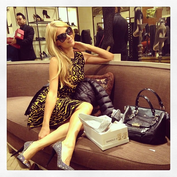Paris Hilton picked out sparkly stilettos while shopping at Bergdorf Goodman. Source: Instagram user parishilton