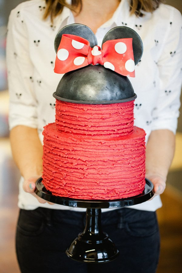 The two-tiered red velvet cake was a Jenny Cookies' signature creation, capped off with a fondant Minnie Mouse topper.