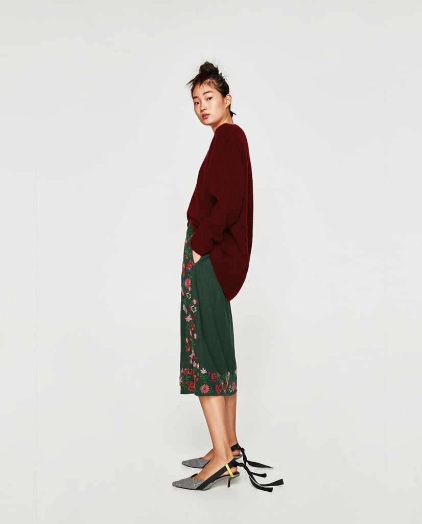 Zara Midi Skirt With Floral Embroidery