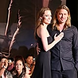 The couple cosied up on the red carpet at the Tokyo premiere of Brad's flick World War Z in July 2013.