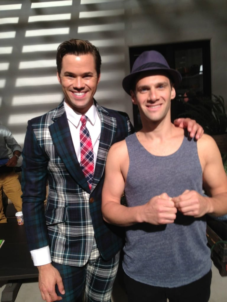 Andrew Rannells and Justin Bartha posed together on the set of The New Normal. Source: Twitter user MrRPMurphy