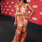 Kerry pulled out all the stops for Django Unchained's Berlin premiere in a floaty, feminine floral-print ensemble by J. Mendel. She kept things minimal with a simple box clutch and a pretty fuchsia lip colour.