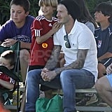 David Beckham with his sons in LA.