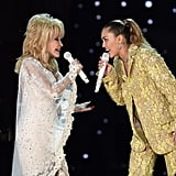 Miley Cyrus and Dolly Parton at the 2019 Grammys