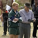 Matt Damon and Clint Eastwood talked about a scene during a break from shooting Invictus in March 2009.
