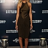 Rihanna dazzled in a green silk number at a photocall for Battleship in London.