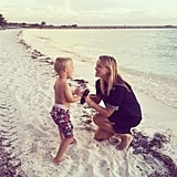 """""""#TBT to long walks on the beach with this little comedian #Vacation #TakeMeBack"""""""