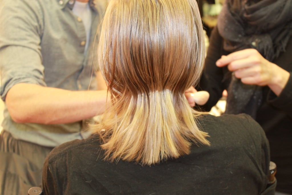 And for the girls with shorter hair, he pinched the hair at the nape of the neck for added edge.
