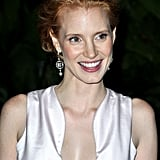 Jessica Chastain looked fresh in minimal makeup for the opening night dinner of the Cannes Film Festival.