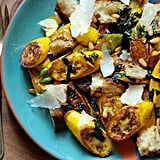 Zucchini With Basil, Pine Nuts, and Croutons
