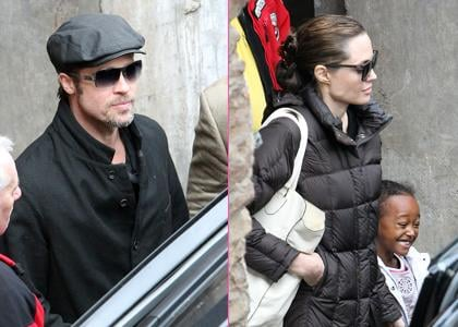 Brad Pitt and Angelina Jolie took Pax and Zahara out in Budapest, Hungary on Sunday (October 24).