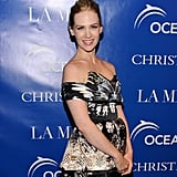 January Jones wore a a patterened dress to a screening of La Revolution Bleue at the Paris theater in NYC.
