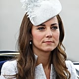 For the 2014 Trooping the Colour ceremony, Kate sported a pretty hat by Jane Taylor.