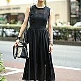 A classic black midi dress
