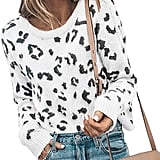 Karlywindow Casual Leopard Print Pullover Sweater