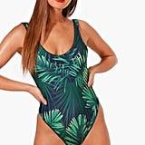 Boohoo Petite Beth Leaf Print Swimsuit