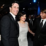 Jon Hamm, Elisabeth Moss, and Jack McBrayer caught up at the NBC party.