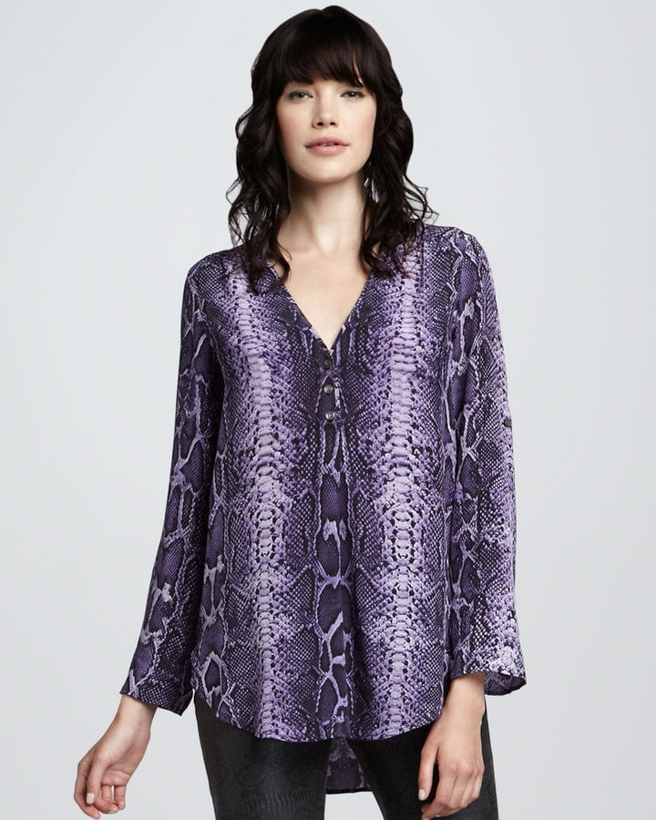 What Goes Around Comes Around's Vanessa Snake-Print Blouse ($229) perfectly incorporates purple with a rich, eye-catching print.
