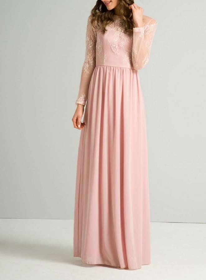 Chi Chi London Pink Lace Maxi Dress