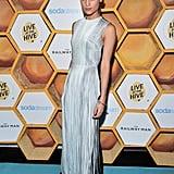 At the Toronto film festival, Alicia wore a metallic sheath dress by Barbara Casasola.