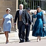 Attending the wedding of Prince Harry and Meghan Markle in 2018 with her sister, Princess Eugenie, and her dad, Prince Andrew.